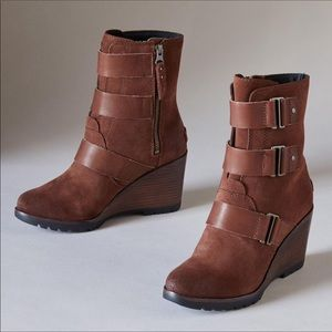 🆕 SOREL x Anthropologie brown leather wedge boots
